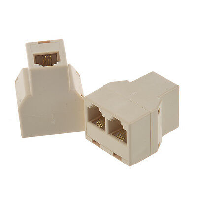 2 Pcs RJ11 1 to 2 Female Plug Telephone Modular Splitter Jointer
