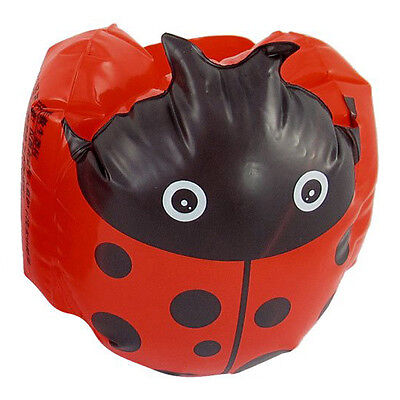 Pair Kids Beach Ladybug Print Inflatable Float Swimming Arm Bands Red Black