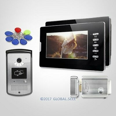 7inch Video Door Intercom System Electric Lock with Keys Included for Apartment