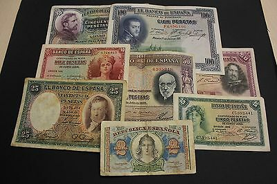 Spain Lot 8 Banknotes Differents Paper Money Spanish