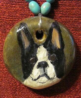 Boston Terrier hand painted on a round, thick Ceramic pendant/bead/necklace