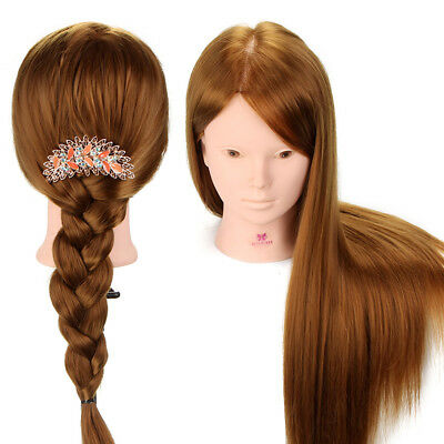 100% Real Human Hair Training Head Makeup Doll Hairdressing Mannequin + Clamp UK