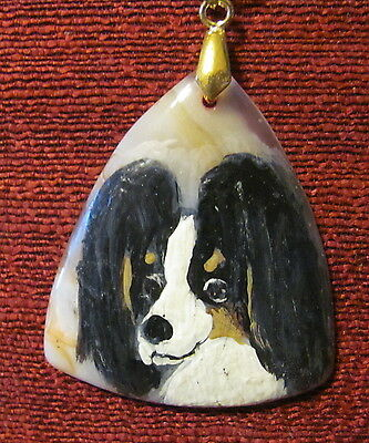 Papillon hand painted on triangular Onyx Agate pendant/bead/necklace
