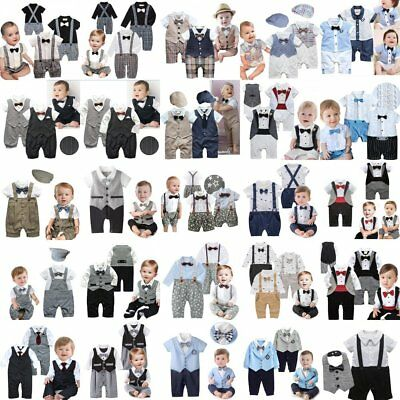 Baby Boy Wedding Christening Tuxedo Suit Outfit Clothes One Piece NEWBORN 0000-2