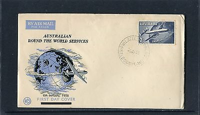 1958 QANTAS Round The World 2/- WCS Unaddressed FDC, Good Condition