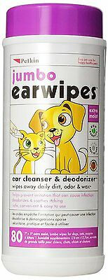 Petkin Jumbo Ear 80 Wet Wipes Ear Care Cleanser For Cats And Dogs