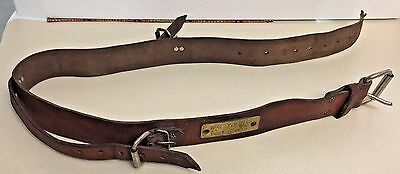 Miners Prospectors Leather Belt w/Brass ID Badge Tag used by Young Vintage