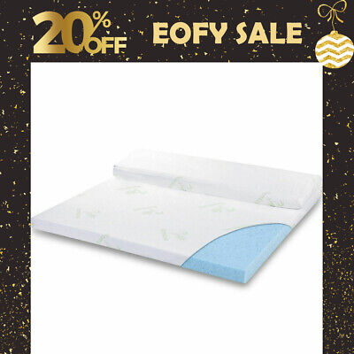 Cool Gel Memory Foam Mattress Topper BAMBOO Fabric Cover Double 5/8 CM Protector