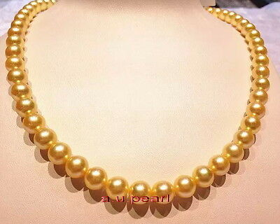 """ROUND AAAAA 18""""10-11MM NATURAL real south sea golden yellow pearl necklace 14K"""