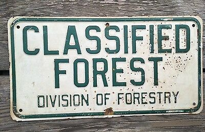 old vintage embossed conservation hiking classified forest sign - solid metal