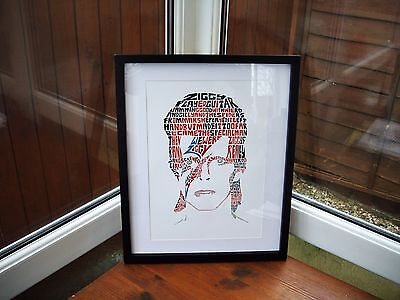 Ziggy Stardust/David Bowie A3 size typography art print/poster