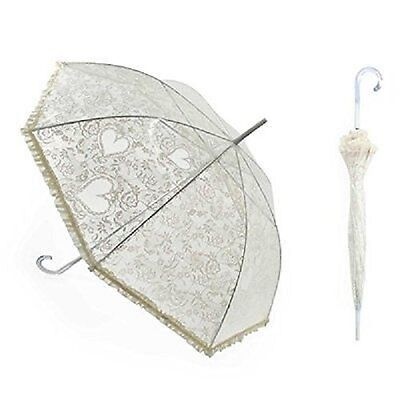 Beautiful Victorian Style White Hearts & Lace Bridal/Wedding Umbrella/Parasol