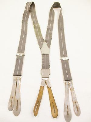 Vintage 1950's Mens Grey Stripe Button Braces Trouser Suspenders Mod Retro