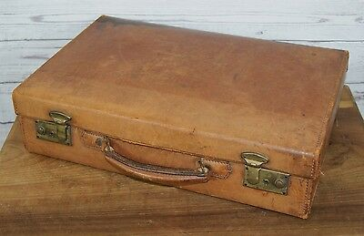 Vintage Small Slim Handheld Brown Tan Leather Attaché Stationery Case Briefcase