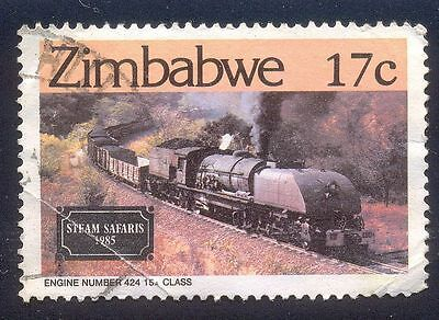 ZIMBABWE 17c USED STAMP 32501 STEAM SAFARIS ENGINE NO 424