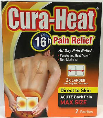 Cura-Heat Acute Back Pain Max Size 2 Patches up to 16 Hr  Relief Direct To Skin