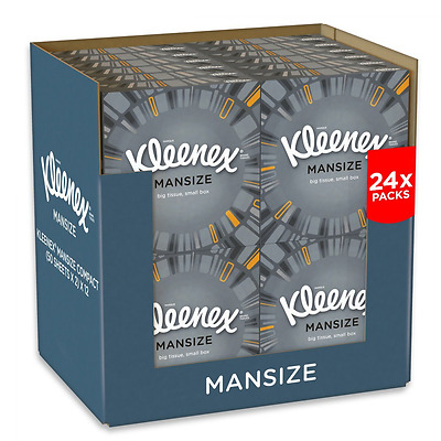 Kleenex Mansize Tissues, Compact Pack - 24 Box Pack (1200 Tissues Total) NEW