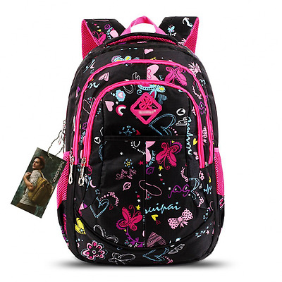 Bebamour School Bag Backpack for Girls Butterfly and Sweetheart Pattern Kids Bac