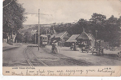 Laxey Tram Station, Isle of Man. p/m 1905.sent to Min y Don,Ramsey.