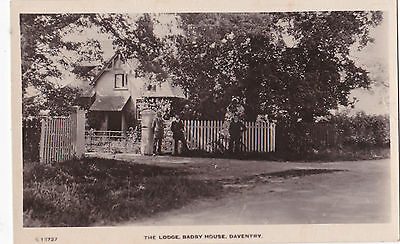 RP The Lodge, Badby House, Daventry. Three gentlemen/bicycle.Kingsway Real Photo