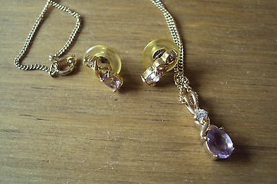 Costume Necklace And Earrings New Purple Stones