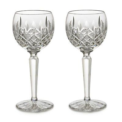 Pair of Waterford Crystal Lismore Hock 6 oz. Wine Goblet Glasses *New in Box*