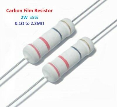 200pcs 2W Carbon Film Resistor ±5% - Full Range of Values ( 0.1Ω to 2.2MΩ )