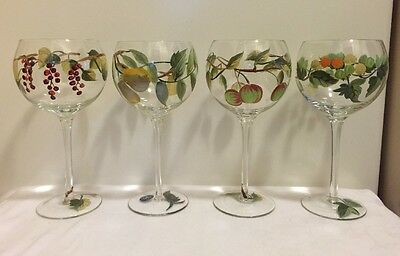 4 Block Hand Painted and Blown Balloon Wine Glasses Harvest Home 2003 Read Ship