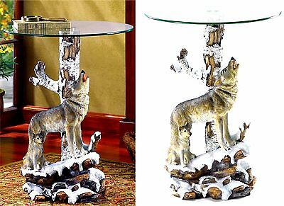 Mother Wolf & Cub Amazing Art ** SCULPTED WOLF ACCENT-END-SIDE-NIGHT TABLE * NIB