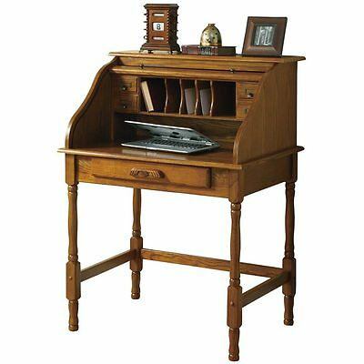 Secretary Desk Roll Top Oak Writing Desk Office Antique Look Cabinet Drop Front