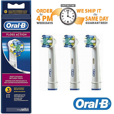 Braun Oral-B Floss Action Toothbrush Heads - 3 Pack - Same Day Dispatch