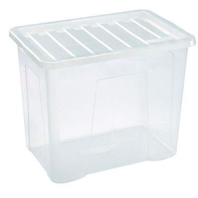10 x 80 LITRE PLASTIC STORAGE BOX - X LARGE -STRONG CONTAINER - CLEAR LID -CHEAP