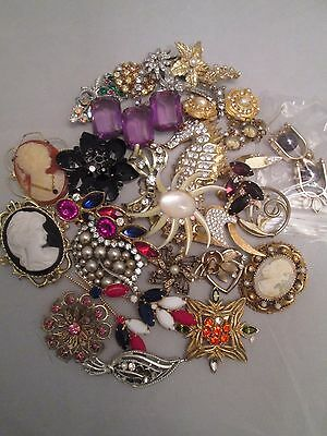 Vintage Jewelry Lot Rhinestone Cameo Brooch Amethyst Repair Harvest Collection