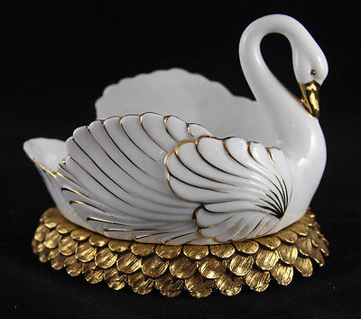 Vintage Prcelain and Brass Swan