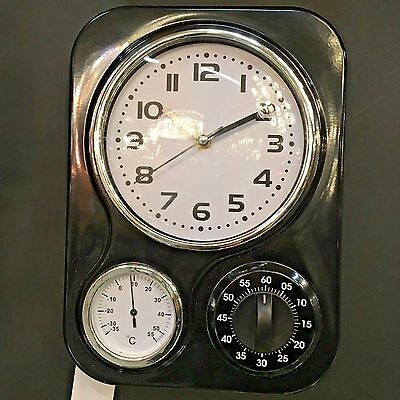 Vintage Diner Style Retro Black Wall Clock with Thermometer and Timer 33x24x8cm