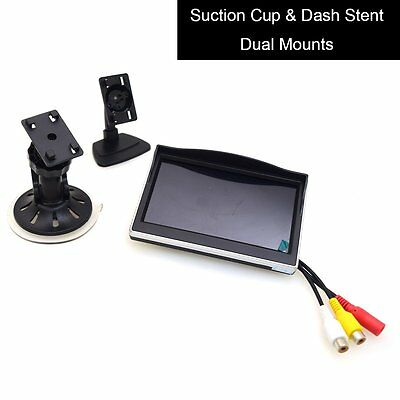 "5"" Car Monitor 12-24V Car TFT LCD Screen Windshield Glass Suction Cup Dash Mount"
