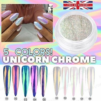 5 COLORS AB UNICORN RAINBOW CHROME Nail Powder Mirror Effect Mermaid Nails