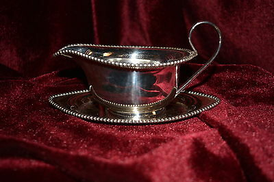 Vintage Georgian Style Silver Plated Small Sauce Boat & Saucer