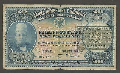 Albania 20 Franga (1945); G+; P-12a; S/B-111; Provisional issue;WWII, Scarce Ser