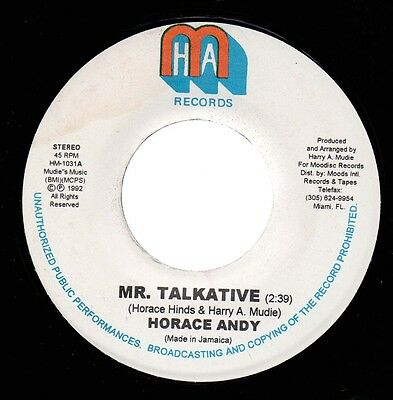 """♫ Roots Reggae - Horace Andy - Mr Talkative - H A M Records Ja 7"""" ♫"""