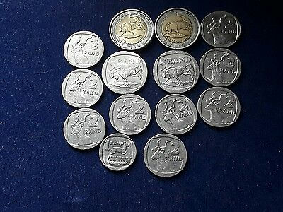 Group Of 14 South Africa Rand Coins.