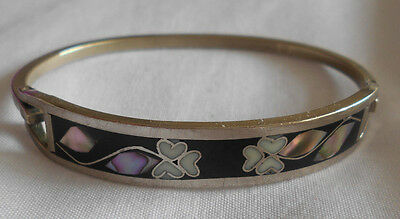 Vintage Mother Of Pearl Inlaid Silver Mexico Alpaca Bracelet Bangle!!!