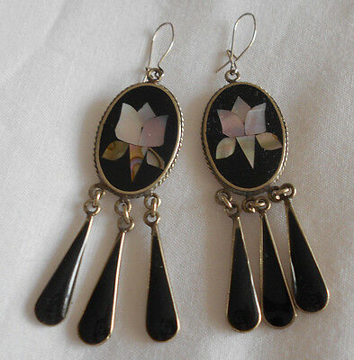 Vintage Mother Of Pearl Inlaid Silver Mexico Alpaca Drop Earrings!!!