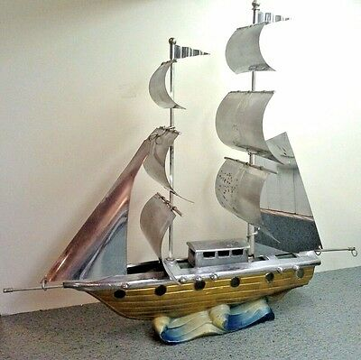Vintage Painted Glass and Metal SAILING SHIP LAMP, Decoration or Restore Project
