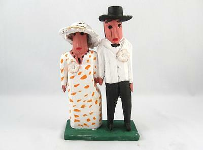 Quebec Primitive Folk Art Wood Carving Married Wedding Couple By Emile Bluteau