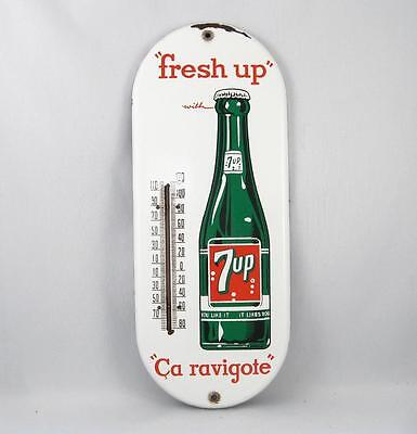 Vintage Seven Up 7-Up Porcelain Thermometer Advertising Sign Soda