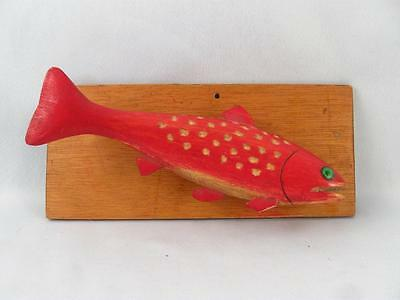 Quebec Folk Art Wood Carved & Painted Trout Fish On Wall Plaque Signed
