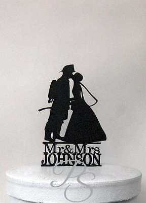 Personalized Wedding Cake Topper - Fireman and Bride Silhouette with Mr & Mrs