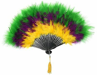 Zucker Feather Marabou Fan with Multi Color Plastic Staves, Purple/Kelly/Gold