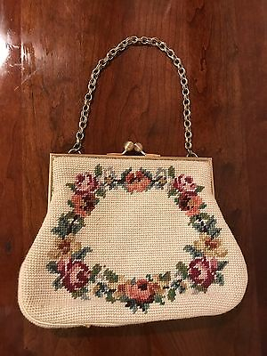Vintage Antique Purse with Floral Design and Gold-Colored Chain Handle